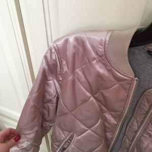 Topshop Jackets & Coats - Topshop Quilted Blush Bomber Jacket US 10